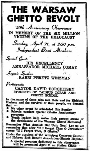 Announcement of memorial event The Jewish Post April 18 1963