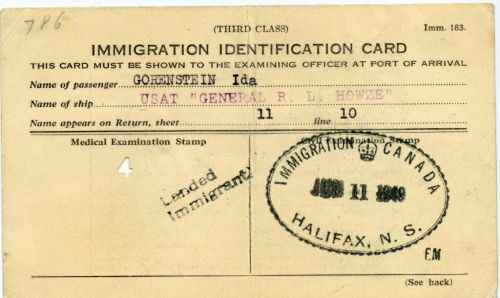 Edith Kimelman - KimelmanYehudit(Edith)1949ImmigrationCard