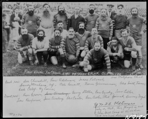 Football game between the YMHA old timers and the Montefiore Club, 1928