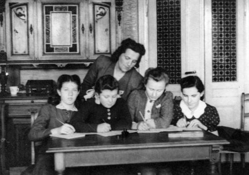 Edith Klingel (3rd from Left) - 1945 - Jewish Elementary School - Lodz, Poland