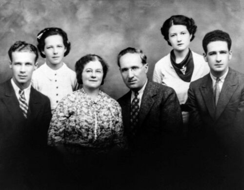 M. A. Gray (third from right) and family