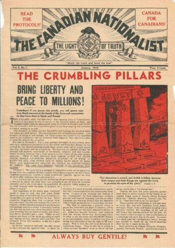 William Whittaker's pro-fascist newspaper, The Canadian Nationalist, January 1938