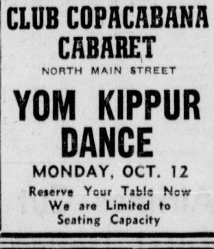 Yom Kippur nightclub ad 1959